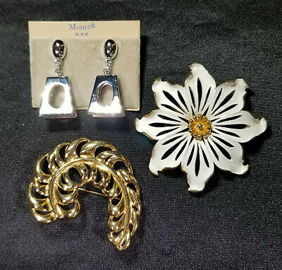 MONET Lot NOS Silver Tone Earrings & Vintage Gold Tone & Enamel Flower Brooch