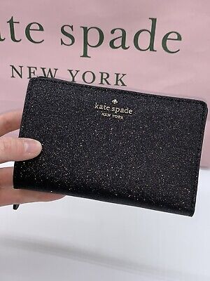 Kate Spade Black Sparkle Bifold Wallet From New Holiday Collection 2019 NWT!