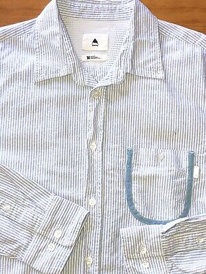 Burton button down long slv shirt-Size: Medium-100% Cotton Seersucker-White/Blue