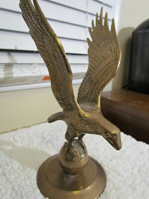 """Vintage Solid BRASS Majestic EAGLE Heavy 2lbs 13oz - 11.5"""" tall x 5.5"""" wide"""