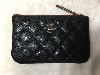 Chanel O Case small Black Caviar with Light Gold Harware 2018 Authentic