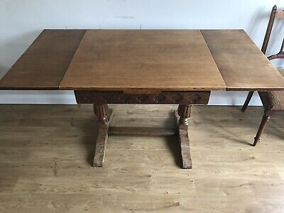 Antique Vintage Oak Draw Leaf Extending Dining Table