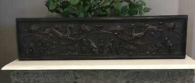 Large 18th Century Carved Oak Overmantel Panel Fox, Dogs and Grape Vine Mythical