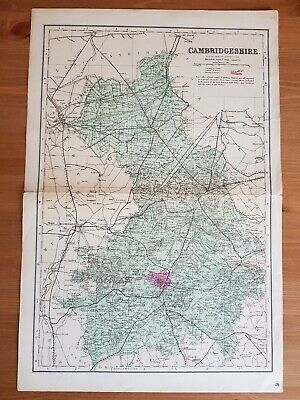 G.W.Bacon Antique Complete map of Cambridgeshire c.1880