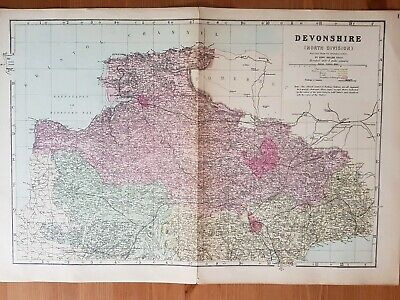 G.W.Bacon Antique Complete map of Devonshire c.1880
