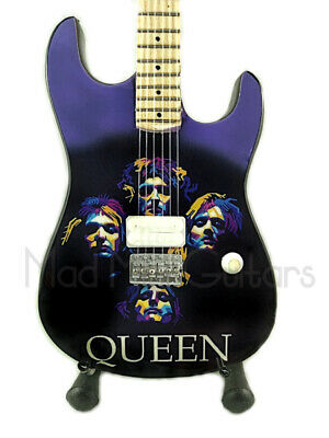 Miniature Guitar QUEEN with free stand. FREDDIE MERCURY BRIAN MAY