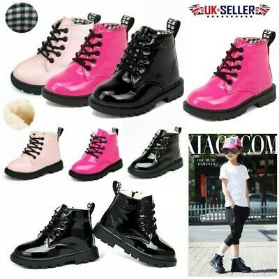 UK Kids Boys Girls Martin Shoes Winter Warm Lace-Up Fur Lined Bovver Ankle Boots
