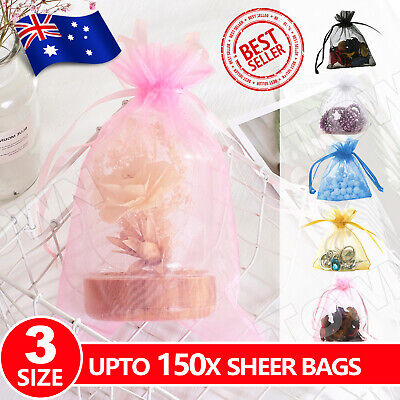 150x 3 Size Organza Bag Sheer Bags Jewellery Wedding Candy Packaging Gift