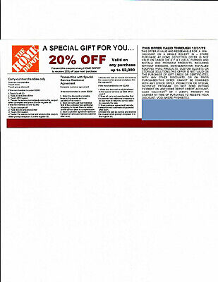 (1) 20% OFF HOME DEPOT Competitors Coupon to use at Lowe's exp 12/31/19