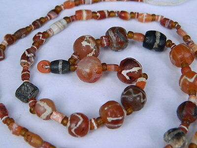 Ancient Etch Carnelian Beads Strand Roman 200 BC No Reserve #BD15111
