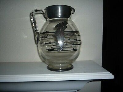 Glass Pitcher with Sterling Silver Overlay from Wannamoisett C.C. 1914