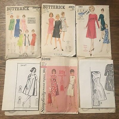 Vtg Lot Sewing Patterns 60's Ladies Dress (Butterick Vogue Simplicity More)