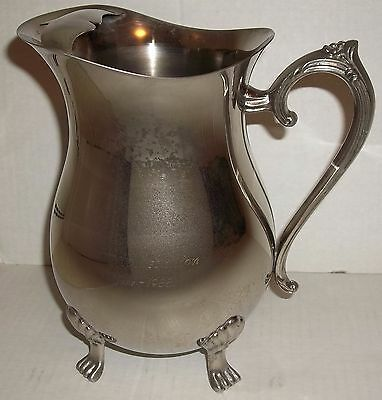 "Vintage footed silver-plated pitcher ice lip; ""In Appreciation June 1988"""
