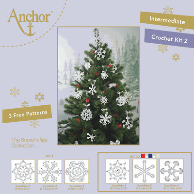 Anchor Snowflake crochet kit - red metallic thread with 3 patterns