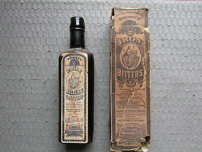 Early BROWN'S IRON BITTERS w/both LABELS, Box & NECK Seal - Had COCA Ingredients