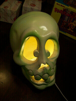 Vtg 1993 Trendmasters Light-Up Foam Skull Halloween Jack-O'-Lantern Decoration