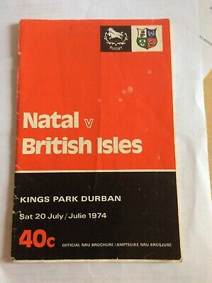 BRITISH LIONS v NATAL ( SOUTH AFRICA ) 20th JULY 1974 RUGBY PROGRAMME