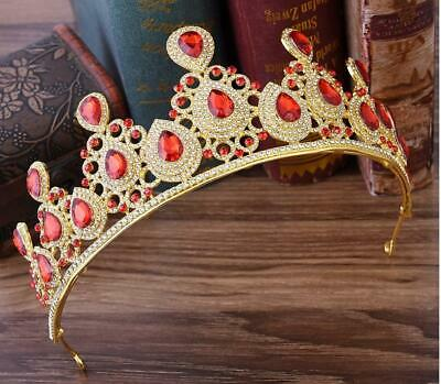 Gold Red Ruby marquise Rhinestone Crystal Beauty Queen Tiara Princess Crown NEW