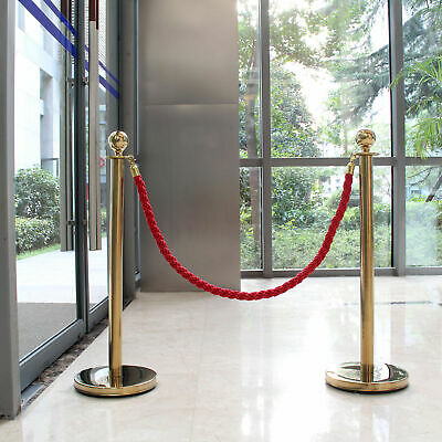 2x Rope Barrier Queue Posts stands stanchion Stainless Steel 1.5m crowd control