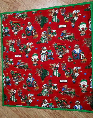 """One Hand tied baby planket size 32,"""" x 34"""" Christmas"""