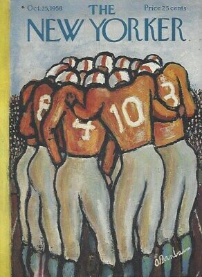 COVER ONLY ~The New Yorker magazine October 25 1958 ~ BIRNBAUM ~ Football Huddle