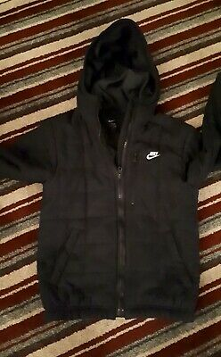 Boys Nike Hooded Jacket 8/10 Yrs Black Lightly Quilted