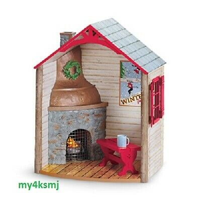 AMERICAN GIRL Holiday WINTER CHALET for Ski DOLL Christmas FIREPLACE Bench MORE