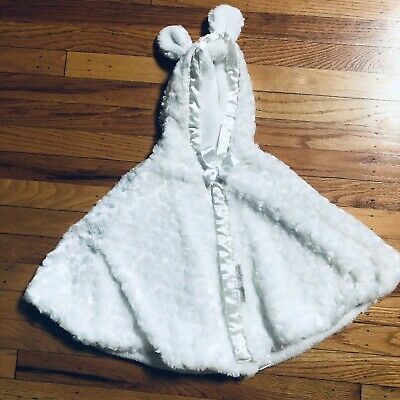 Blankets and Beyond White Cape with bunny ears soft hood Poncho