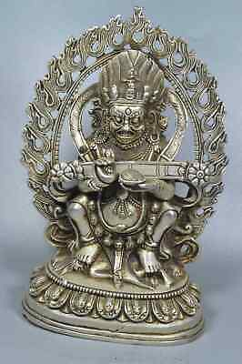 China Collectable Handwork Old Miao SIlver Carve Buddha Pray Auspicious Statue