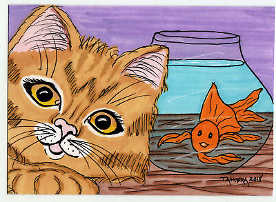 TAMBRA Ginger Tabby Kitty CAT Selfie w Goldfish ACEO Folk Art Original Painting