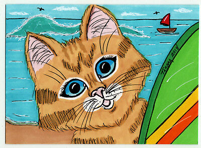 TAMBRA Sailboat Kitty Tabby CAT Beach Ocean ACEO Folk Art Original Painting