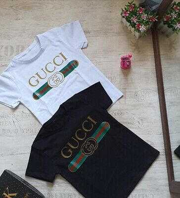 New kids shirt fashion print gucci print cotton unisex children boy/girl t-shirt