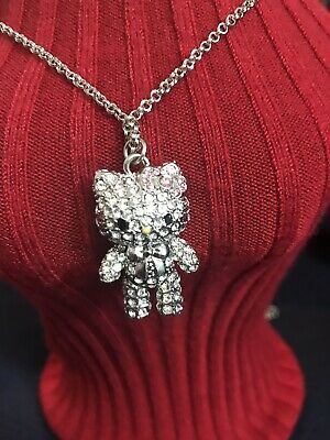 Hello Kitty 3D Crystal Pendant Necklace W/ Movabe Arms And Legs