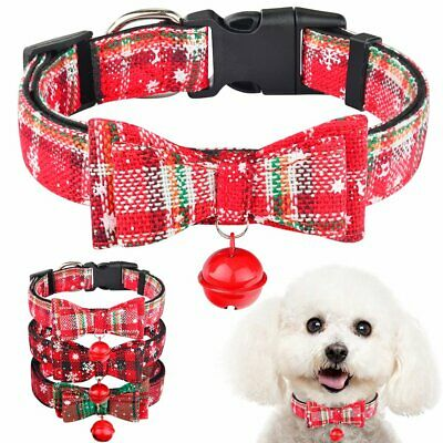 Small Medium Large Christmas Dog Collar with Bow Tie Bell for Boy Girl Puppy Pet