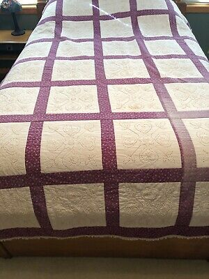 "VTG  Quilt Heavily Embroidered Patchwork Hand Sewn Quilted 66"" x 92"""