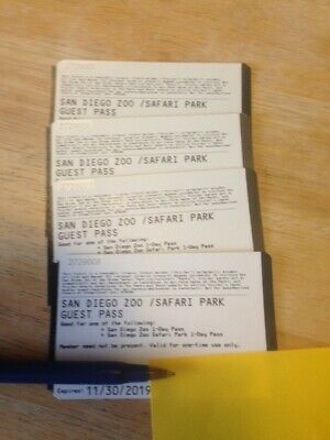 4 San Diego Zoo Or Safari Park Tickets/Passes. Exp. 11/30/2019.