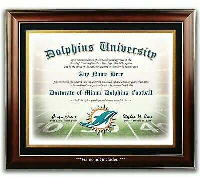 MIAMI DOLPHINS NFL Football Fan Certificate / Diploma Man Cave GIFT Christmas