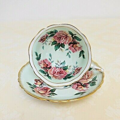 Paragon Cabbage Roses Light Green Teacup And Saucer Wise Mouth Scalloped