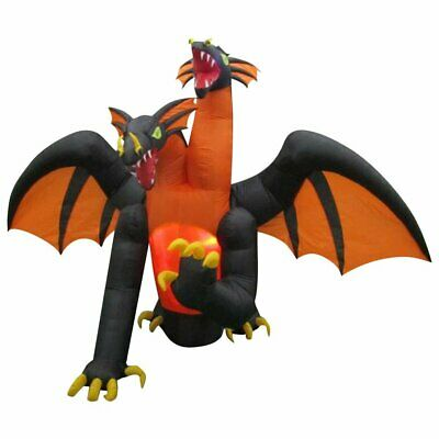 11 Ft ANIMATED TWO HEADED DRAGON FIRE AND ICE Airblown Lighted Yard Inflatable