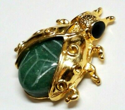 Egyptian Revival Carved Jade Scarab Beetle Bug Insect Gold Plated Brooch Pin
