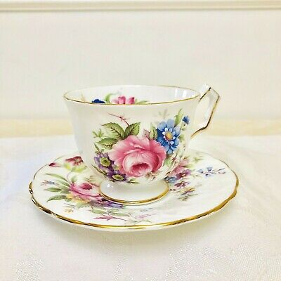 Aynsley Floral Pink Rose Teacup And Saucer Scalloped