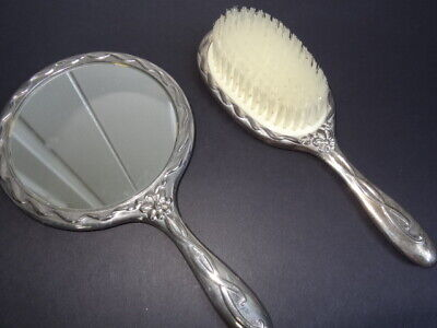 ANTIQUE HEAVY SILVER PLATE HAND MIRROR & BRUSH Set
