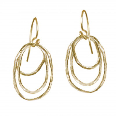 "Hammered Ovals Drop Earrings - 2"" - Choice of Sterling Silver or 14k Gold Filled"