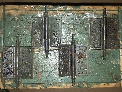 "Antique Victorian Eastlake Steeple Finial Door Hinge Lot Of 4 | 6""x 3.5"""