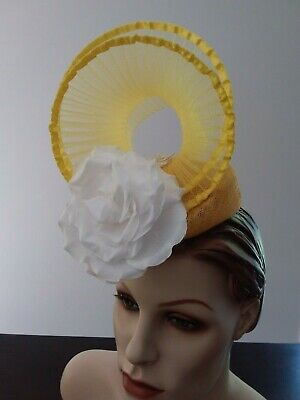 Original Yellow and White Fascinator