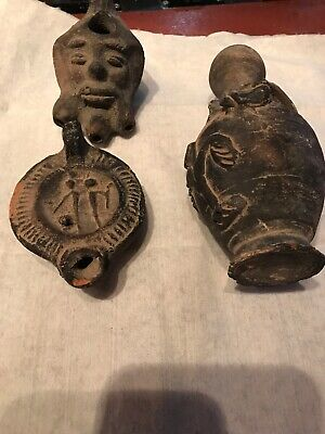 3 Small Ancient Antique Roman, Greek or Byzantine Pottery Figures & Oil Lamp