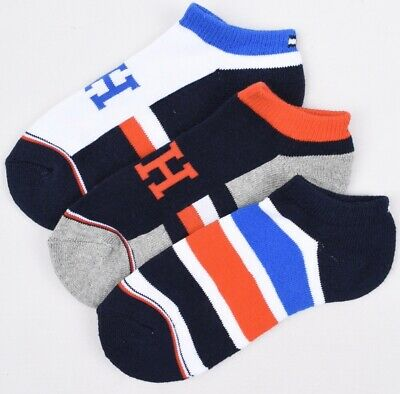 TOMMY HILFIGER Boys' Kids' 3-pack Trainer Socks, Multicoloured, size 7-10 years