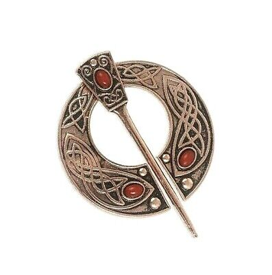 "Silvery 2-3//8/"" Spiral End Celtic PENANNULAR Brooch Cloak Hair with 2-5//8/"" pin"