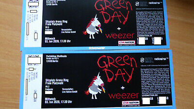 2 Tickets GREEN DAY Berlin  3.6.2020 Wuhlheide