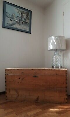 Very Large Old Antique Wooden Chest, Blanket Box, Trunk, Coffee Table, Storage
